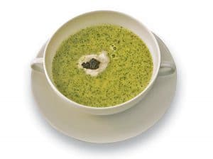 سوپ نخود فرنگی و سیر با خاویار